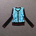Dámské Jednoduché Běžné/Denní Standardní Kardigan Patchwork,Modrá / Žlutá Dlouhý rukáv Do V Polyester Podzim Střední Neelastické