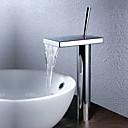 現代風 洗面ボウル 滝状吐水タイプ with  セラミックバルブ シングルハンドルつの穴 for  クロム , バスルームのシンクの蛇口