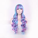 peloカーリー自然耐熱アニメのコスプレerruque合成かつらの長い女性のヘアスタイルpelucasブルー原宿オンブルのかつら