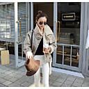 Dámské Standardní S vycpávkou Jednoduché Běžné/Denní Jednobarevné-Kabát Polyester Polyester Dlouhý rukáv Béžová