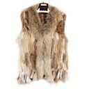 kožešina vesta bez rukávů, límce králičí kožešiny strana / Casual vesta (více barev)