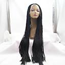 Sylvia syntetické krajky vpředu paruka černé pletené vlasy rovné nejmenší prýmky tepelně odolná syntetické paruky pro černé ženy