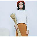 Dámské Jednoduché Běžné/Denní Standardní Rolák Jednobarevné,Bílá Dlouhý rukáv Kulatý Akryl Zima Střední Lehce elastické