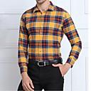 Muži Pléd Společenské / Práce / Běžné/Denní Vintage / Jednoduché Košile-Podzim / Zima Bavlna Košilový límec Dlouhý rukáv Modrá / Žlutá