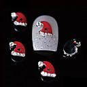 10ks kosmetické xmas red santa hat 3d slitina nehtový design DIY nehtů dekorace