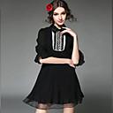 aofuli modni žene plus size haljina luksuzni berba zrno bisera čipka patchwork gaze nabor 3/4 rukava haljina