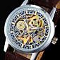 Pánské Náramkové hodinky mechanické hodinky S dutým gravírováním Svítící Automatické natahování PU Kapela Cool Luxusní Hnědá