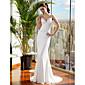 Lanting Bride® Mořská panna Drobná / Nadměrné velikosti Svatební šaty Dlouhá vlečka Špagetová ramínka Saténový šifon s