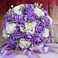 紫と白の花を保持する30のPEシミュレーションのバラの結婚式のブーケ結婚式の花嫁のブーケ
