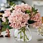 pet meso ružičasto hygrangeas umjetnog cvijeća s vazom
