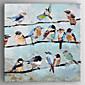 Ručně malované Zvíře Čtvercový,Tradiční Jeden panel Plátno Hang-malované olejomalba For Home dekorace