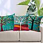 sada 3 barevné květinové strom bavlna / len dekorativní polštář krytem
