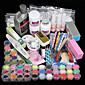 promotion! 42pcs acrylique liquide de poudre conseils d'art brosse paillettes clipper amorce fichier-clou du kit