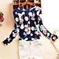 Majica s rukavima Ženski,Jednostavno Ležerno/za svaki dan Print-Dugih rukava Okrugli izrez-Jesen Bijela Srednje Poliester
