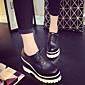 Chaussures Femme - Extérieure / Décontracté - Noir / Blanc - Talon Compensé - Compensées / Bout Arrondi - Baskets à la Mode - Similicuir