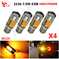 4x žute velike snage bau15s 1156py 7.5w rep kočnice signal LED žarulje 7507
