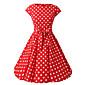 Dámské čepice rukávy červená černá fialová polka dot šaty, vintage cap rukáv 50s rockabilly houpačka šaty
