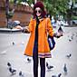女性 お出かけ 冬 プリント コート,ボヘミアン スタンド オレンジ ウール / ポリエステル 長袖 ミディアム