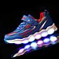 Za dječake Sneakers Jesen Zima Udobne cipele Osvijetlite Shoes PU Atletika Ravna potpetica Vezanje LED Zelena Ružičasta Navy Plava