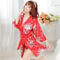Žene Ultra seksi / Seksi spavaćica / kineska haljina / Odijelo / Ogrtač Noćno rublje Print-Umjetna svila Crvena