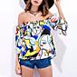 Bluza Žene,Seksi Jednostavno Izlasci Plaža Print-1/2 rukava Bez naramenica Bijela Poliester
