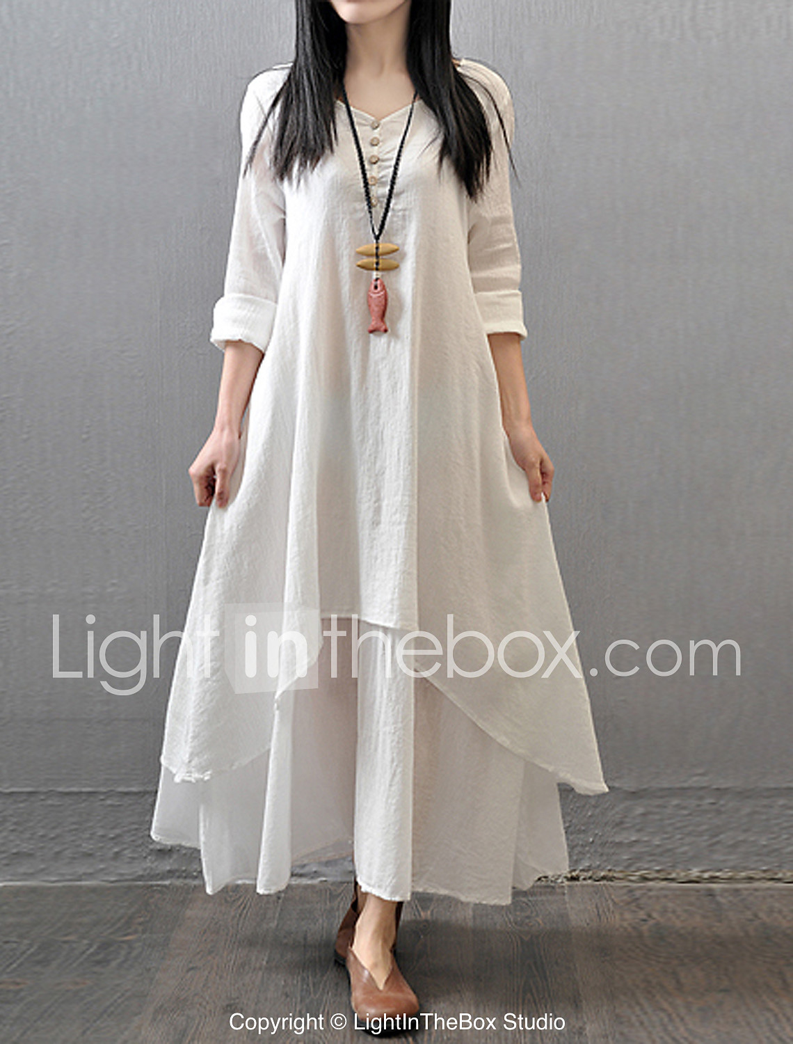 Christmas dress attire for age 57 - Women S Casual Daily Simple Chinoiserie Loose Dress Solid V Neck Maxi Long Sleeve Cotton